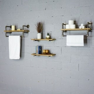 "Furniture Pipeline Seattle 24"" - 33"" Wide Set of 4 Wall Shelf Rack"