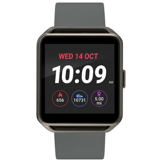 iConnect by Timex Classic Square Smartwatch with Heart Rate & Two-Way Bluetooth Calling 40mm - Gunmetal with Gray Strap