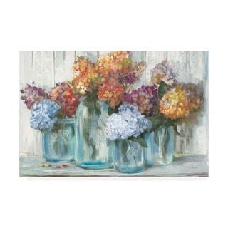 Carol Rowan 'Fall Hydrangeas in Glass Jar Crop' Canvas Art