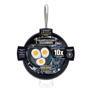 "Granite Stone Diamond 14"" Nonstick Extra Large Frying Pan with Helper Handle"