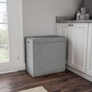 Double Laundry Hamper with Lid- Two-Sided Sorter and Removable Mesh Liner Bags with Handles by Lavish Home