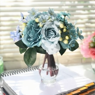 Enova Home Azure Silk Rose and Mixed Flower Arrangements in Clear Glass Vase with Faux Water