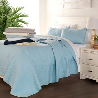 Luxury Ultra Soft Damask Quilted Coverlet Set by Sharon Osbourne Home