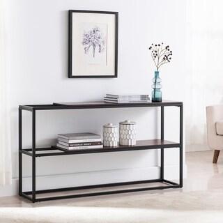 Holly & Martin Decklan Console Table - Unique Sliding Shelf Design w/ Black Metal Frame