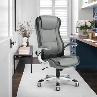 Porch & Den Nehalem Black/ Grey PU Leather Excutive Desk Chair