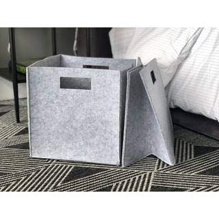 The Curated Nomad Sani Handmade Felt Fabric Storage Cubes (Set of 2)