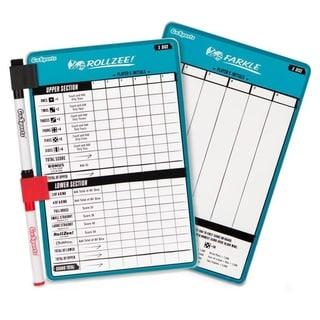 "GoSports Dry Erase Rollzee and Farkle Scoreboard Giant Size with 2 Pens - Blue - 6.5"" x 10"""