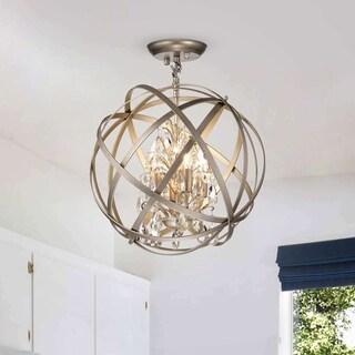 Benita Brushed Champagne 4-light Metal Globe Crystal Semi-Flush Mount