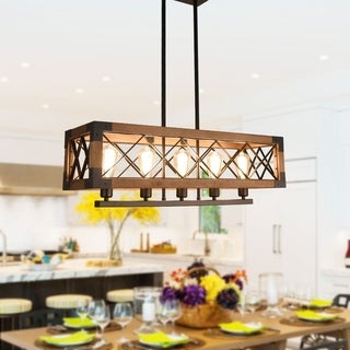 5-light Wood Kitchen Island Light, Cage Linear Kitchen island pendant Chandelier