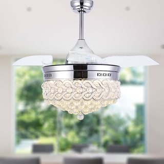 """Modern Crystal Retractable Ceiling Fan with LED Light, Remote - 42"""""""