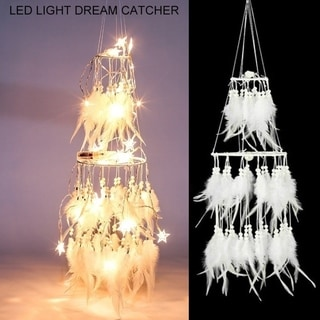 20 LED Light Dream Catcher Light String White Feather Night Light Home Party Decoration
