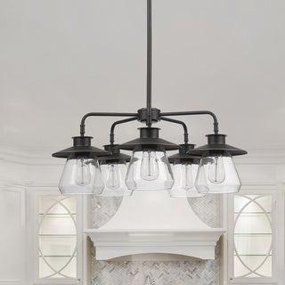 The Gray Barn Twyla 5-light Oil Rubbed Bronze Chandelier with Clear Glass Shades