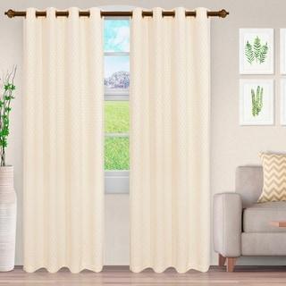 Miranda Haus Awtry Jacquard Grommet Curtain Panel (Set of 2)