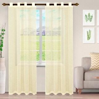 Miranda Haus Stanton Stripe Sheer Grommet Curtain Panel (Set of 2)
