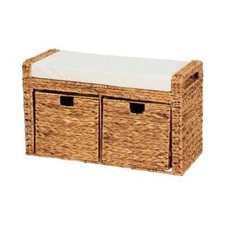 Household Essentials Entryway Cushioned Wicker Storage Bench with Storage Bins