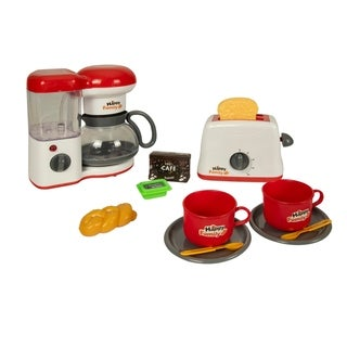 Deluxe Kitchen Play Set Coffee Maker and Toaster - Red