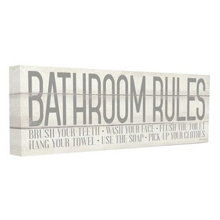 Porch & Den 'Bathroom Rules' Grey and White Planked Look Typography Canvas Wall Art - Multi-Color