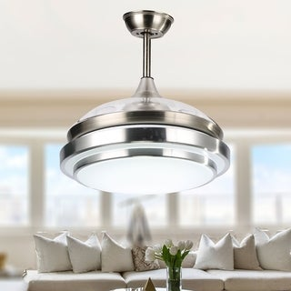 Contemporary Bladeless Ceiling Fan with Light and Remote, Retractable Blades - 42 inches