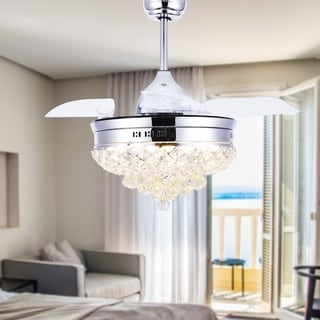 42-inch 4 retractable Blades Fancy Ceiling Fan with Light and Remote - 42 inches