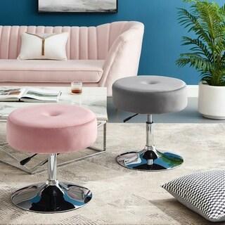 Art-Leon Round Velvet Stool with Adjustable Swivel Base