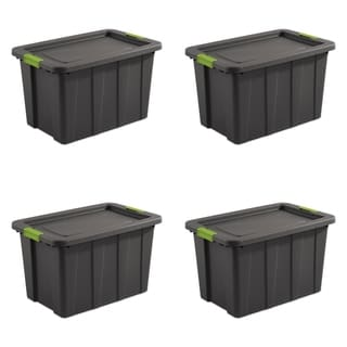 "Case of 4 Flat Gray Sterilite 30 Gallon Latching Tuff1 Totes - 18"" wide"