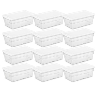 Case of 12 Clear Sterilite 6 Quart Storage Boxes
