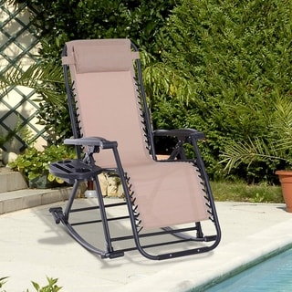 Outsunny Folding Zero Gravity Rocking Lounge Chair with Cup Holder Tray, Durable Fabric, and Folding Design - Grey