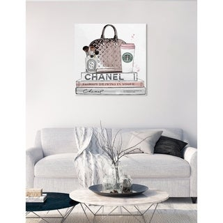 Oliver Gal 'Blush and Make Up Brush' Fashion and Glam Wall Art Canvas Print - Pink