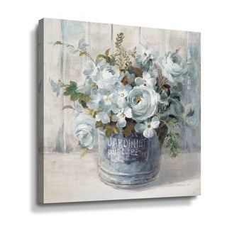 ArtWall Garden Blooms I blue crop Gallery Wrapped Canvas