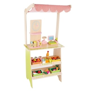 Kids Fresh Market Selling Stand- Wooden Playset by Hey! Play!