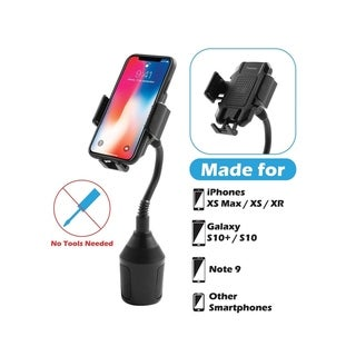 "Insten Black Universal Gooseneck Phone Mount Cup Holder with Adjustable Base Up to 3.54"" Diameter - 7"" Tall"