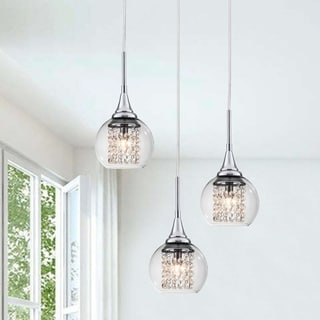 Blanca Chrome 3-Light Pendant Chandelier with Glass Shade and Crystal