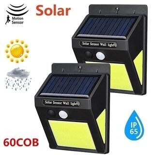 2Pcs Solar Lamp Outdoor 60LED Garden Yard Waterproof PIR Motion Sensor Night Light Outdoor Path Security Waterproof