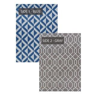 Duplicity Promenade Blue & Gray Indoor/Outdoor Reversible Area Rug