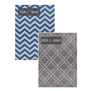 Duplicity Treillage Blue & Gray Indoor/Outdoor Reversible Area Rug