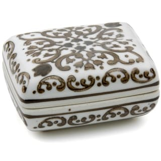 "Handmade 3.5"" Floral Brown and White Porcelain Small Jewelry Box"