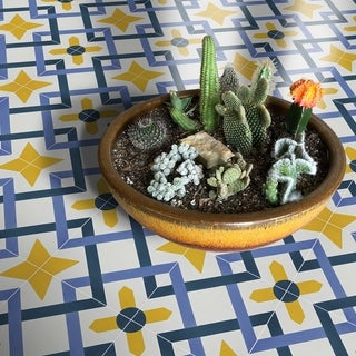 Handmade Berkane-Blue, Purple, Yellow Tile, Pack of 12 (Morocco)