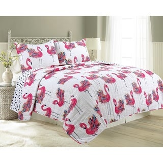 James Home Cotton Quilt Set Flower Flamingo 3pc Reversible Ultra-Soft Microfiber