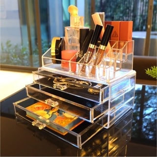 Large Acrylic Box Cosmetics Stand Cosmetic Case Cosmetic Storage Box Girlfriend Gift Makeup Organizer Jewelry Drawer - Clear