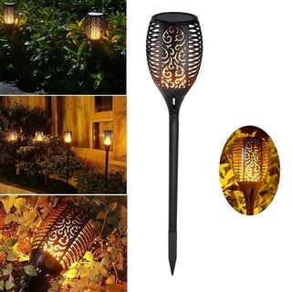 2Pc 33LED Solar Light Dancing Flame Light Waterproof Outdoor Decor Solar Garden Light Decoration Lighting Patio Deck Garden Yard
