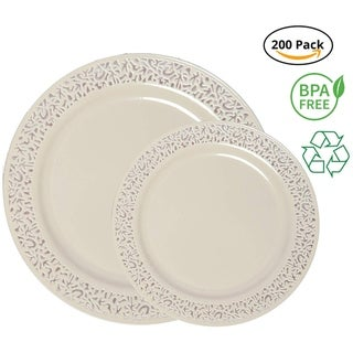 Party Joy 200-Piece Plastic Dinnerware Set, Lace Collection, (100) Dinner Plates & (100) Salad Plates,(Ivory)