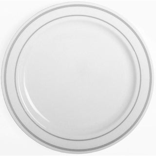 Party Joy 50-Piece Dinner Set, Silver Lines Collection, Heavy Duty Premium Plastic Plates,White