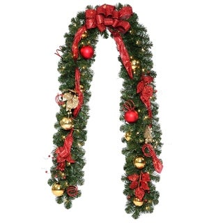 Decorative Collection Home Spun Red/Gold/Green 9-foot Garland with 50 Clear Lights