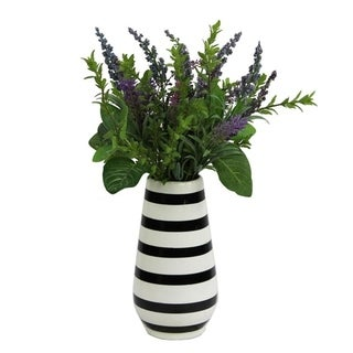 Artificial Lavender w/ Mixed Plant Foliage Striped Vase - Purple