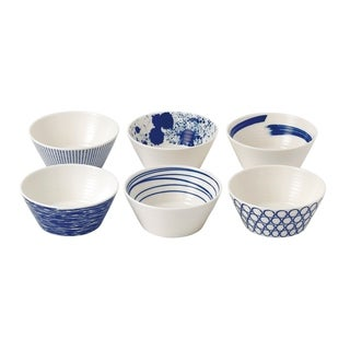 Pacific Tapas 4.3-inch Mixed Patterns Bowl, Set of 6