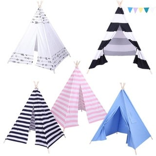 Indoor Dollhouse Indian Play Tent Children Teepee Tent with Small Coloured Flags