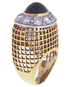 18k Gold Sapphire 3ct TDW Diamond Cocktail Ring (G, VS1)
