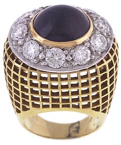 18k Gold Sapphire 3ct TDW Diamond Cocktail Ring (G, VS1)