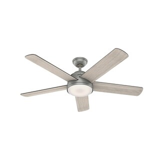 """Hunter 54"""" Wifi Romulus Matte Silver Ceiling Fan with LED Light Kit and Remote Control"""