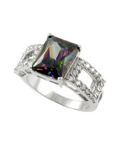 Tressa Sterling Silver Mystic CZ Emerald Cut Ring